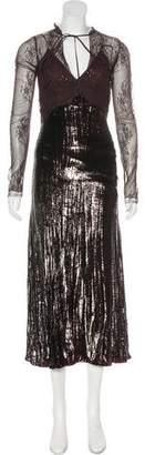 Nina Ricci Metallic Midi Dress w/ Tags