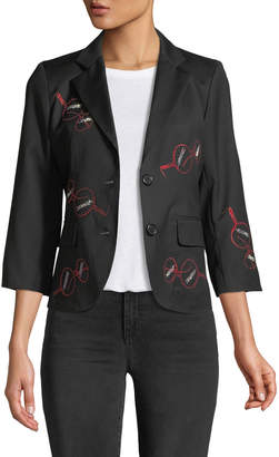 Libertine Iris Apfel Glasses 3/4-Sleeve Wool Blazer