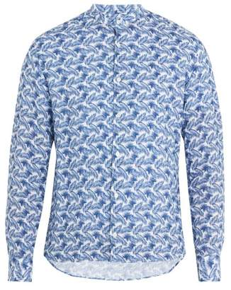 Altea Feather Print Linen Shirt - Mens - White Multi