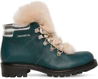 Simonetta NAPPA LEATHER & FUR ANKLE BOOTS