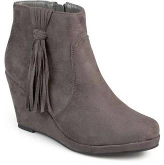 Brinley Co. Women's Faux Suede Tassel Round Toe Wedge Boots