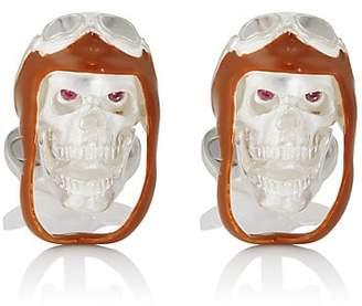 Deakin & Francis Men's Aviator Skull Cufflinks - Brown