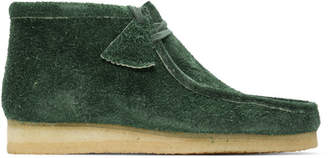 Clarks Green Hairy Suede Wallabee Boots