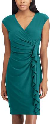 Chaps Women's Ruffled Surplice Sheath Dress