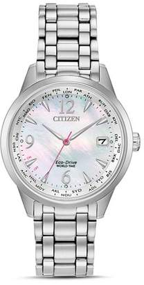 Citizen Stainless Steel World Time Eco-Drive Watch, 36mm