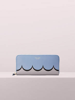 Kate Spade Intarsia Scallop Slim Continental Wallet, Horizon Blue