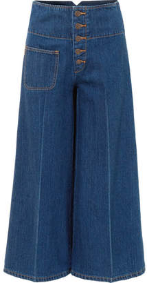 Marc Jacobs Cropped High-rise Wide-leg Jeans - Blue