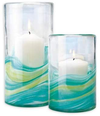 Home Essentials & Beyond Swirl Glass Hurricane Candle Holders (Set of 2)