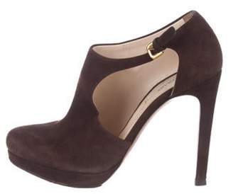Jimmy Choo Suede Round-Toe Ankle Boots Brown Suede Round-Toe Ankle Boots