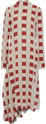 Marni Asymmetric Checked Silk Midi Dress