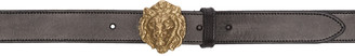 Saint Laurent Black Lion Head Belt $375 thestylecure.com