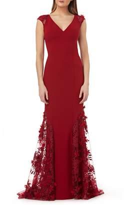 Carmen Marc Valvo 3D Floral Inset Gown