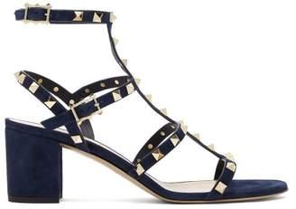 Valentino - Rockstud Block Heel Suede Sandals - Womens - Navy