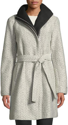 T Tahari Eva Asymmetric Tweed Coat