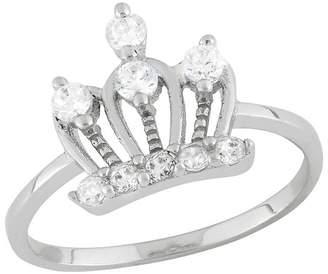 Tiara Kid's Cubic Zirconia Royal Crown Ring in Sterling Silver