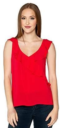 Velvet by Graham & Spencer Women's April Sleeveless Ruffle Surplice Blouse