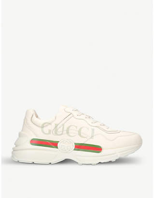 Gucci Ladies rhyton leather running trainers
