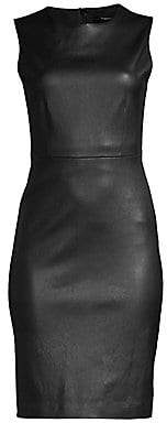Theory Women's Bristol Leather Sleeveless Sheath Dress