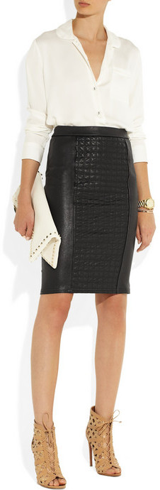 Roberto Cavalli Quilted stretch-leather skirt