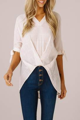 Listicle High-Low V-Neck Top