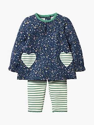 Boden Mini Baby Appliqué Hearts Top and Leggings Set, Blue
