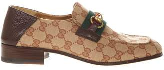 640024de2b2 Gucci Horsebit Loafer In Original Fabric Gg And Brown Leather
