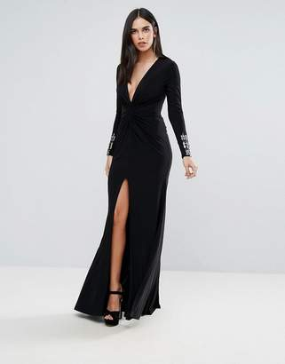Forever Unique Black Maxi Dress With Sleeve Detailing