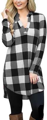 YF Women Casual Loose Plaid Shirt V Neck Long Sleeve Tunic Blouse Top