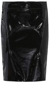 Tom Ford Suede-trimmed patent leather skirt
