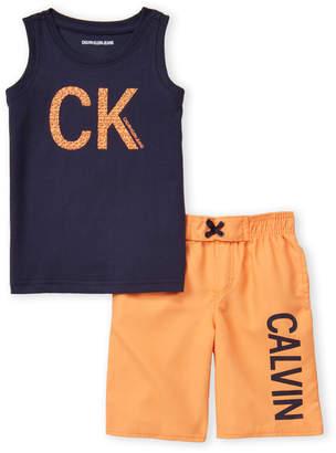 Calvin Klein Jeans Boys 4-7) Two-Piece Print Logo Tank & Swim Shorts Set