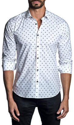 Jared Lang Men's Long-Sleeve Butterfly Print Sport Shirt