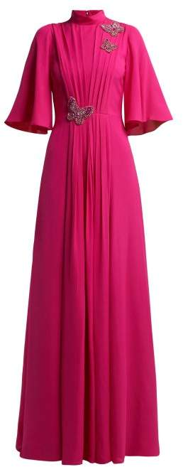 Crsytal And Sequin Embroidered Pleated Silk Gown - Womens - Pink