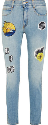 Stella McCartney - All Is Love Embroidered Mid-rise Skinny Jeans - Light denim $585 thestylecure.com