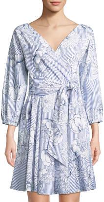 Alexia Admor Floral-Striped Poplin Wrap Dress