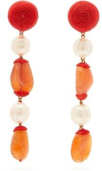 Rebecca De Ravenel Long Treasures Pearl And Gem Clip Earrings - Womens - Orange