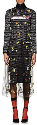 Prada Women's Embellished Tulle Midi-Dress - Black