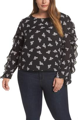 1 STATE 1.STATE Paisley Petals Slit Ruffle Sleeve Blouse