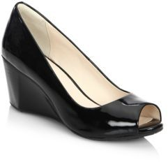 Cole Haan Sadie OT Patent Leather Peep Toe Wedge Pumps $180 thestylecure.com