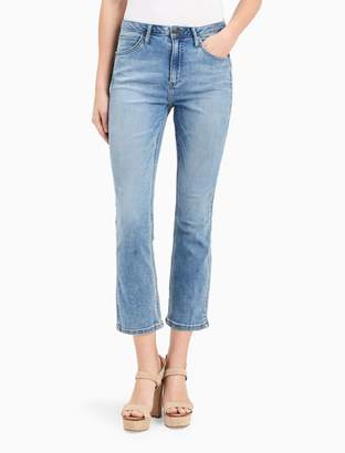 Calvin Klein sculpted light blue cropped flare skinny jeans