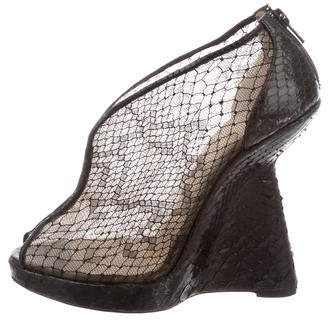 Christian Louboutin Python-Trimmed Wedge Ankle Boots