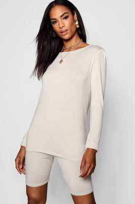boohoo Tall Longline Top + Cycling Shorts Co-ord