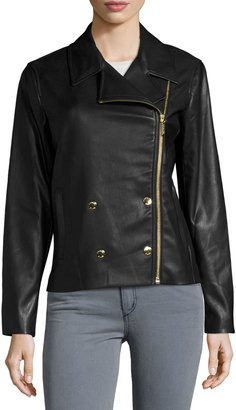 MICHAEL Michael Kors Double-Breasted Faux-Leather Moto Jacket, Black $245 thestylecure.com