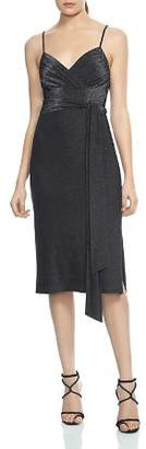 Halston Faux-Wrap Metallic Jersey Dress