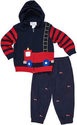 Florence Eiseman Fire Truck Knit Hooded Sweater w/ Twill Pants, Size 2-5