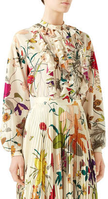 Gucci Flora Gothic Ruffled Button-Front Blouse