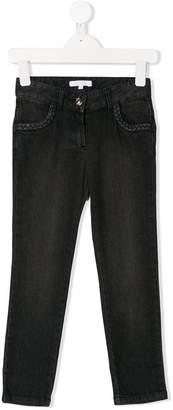Chloé Kids woven trim jeans