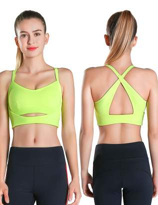 1732f573a6523 Exerin Women s High Impact Back Criss Cross X Style Workout Full Figure  Wirefree Running Yoga Sports