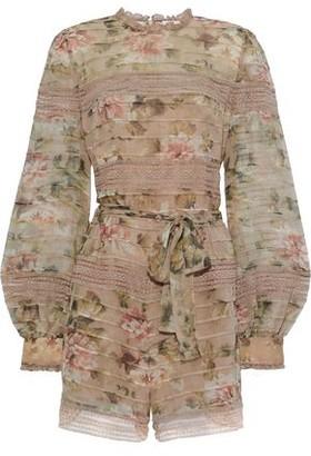 Zimmermann Lace-trimmed Floral-print Silk-chiffon Playsuit