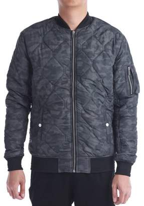 No Retreat Men's Diamond Quilt Bomber Jacket