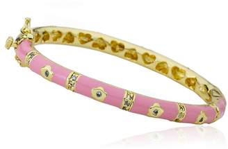 Little Miss Twin Stars Outfit MakersCZ & 14k Gold-Plated Flowers Pink Oval Bangle CZ Lines